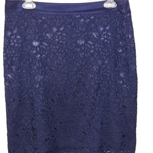 The Limited size 8 navy blue lined lace skirt.